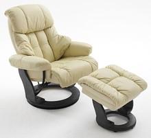 Fotel z podnóżkiem CALGARY - kremowy/czarny