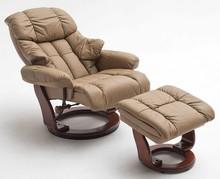 Fotel z podnóżkiem CALGARY - muddy/orzech