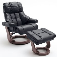 Fotel z podnóżkiem CALGARY XXL - czarny