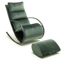 Fotel z podnóżkiem YORK - velvet butelkowa zieleń