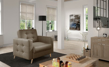 Fotel pikowany ASGARD 1F - tkanina Monolith 09