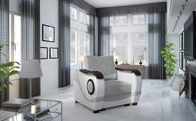 Fotel tapicerowany PUERTO 1F - tkanina Sawana 21/Soft 17