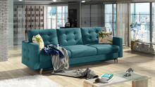 Sofa rozkładana pikowana ASGARD 3F - tkanina Matt Velvet 75/pod. Garden 39