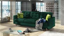 Sofa rozkładana pikowana ASGARD 3F - tkanina Kronos 19/pod. Jungle 32