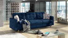 Sofa rozkładana pikowana ASGARD 3F - tkanina Monolith 77/pod. Botanical 80