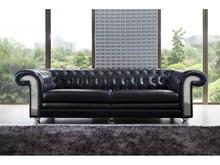 Sofa skórzana 3-osobowa YH-136 - czarny