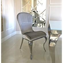 Krzesło welurowe MONTALE - srebrny