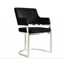 Krzesło welurowe ENZO SILVER - czarny