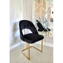 Krzesło welurowe LUIGI GOLD - czarny