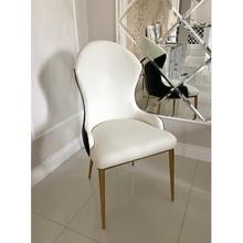Krzesło LUIS GOLD ekoskóra - biały/czarny