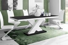 Stół rozkładany XENON 160 - matowy/czarno-biały