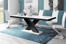 Stół rozkładany XENON 160 - wysoki połysk/biało-czarny