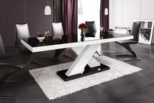 Stół rozkładany XENON 160 - wysoki połysk/czarno-biały