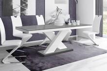 Stół rozkładany XENON 160 - wysoki połysk/szaro-biały
