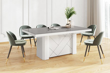 Stół KOLOS MAX 180 - wysoki połysk/szaro-biały