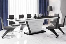 Stół rozkładany VEGA 160 - wysoki połysk/czarno-biały