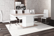 Stół rozkładany AMIGO 160 - wysoki połysk/cappucino-biały