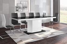 Stół rozkładany AMIGO 160 - wysoki połysk/czarno-biały