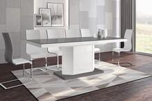 Stół rozkładany AMIGO 160 - wysoki połysk/szaro-biały