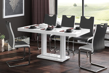 Stół rozkładany QUADRO 120 - wysoki połysk/biały