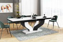 Stół rozkładany VIVA 160 - wysoki połysk/biało-czarny