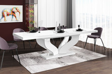 Stół rozkładany VIVA 160 - wysoki połysk/biały