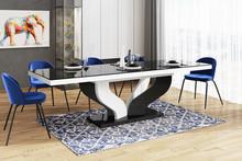 Stół rozkładany VIVA 160 - wysoki połysk/czarno-biały