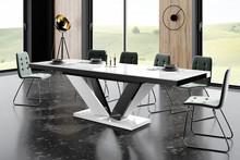 Stół VIVA 2 - wysoki połysk/biało-czarny/nogi mieszane