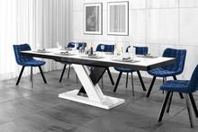 Stół rozkładany XENON LUX - wysoki połysk/biało-czarny/nogi mieszane