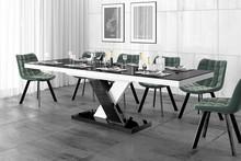 Stół rozkładany XENON LUX - wysoki połysk/czarno-biały/nogi mieszane