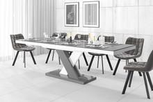 Stół rozkładany XENON LUX - wysoki połysk/szaro-biały/nogi mieszane