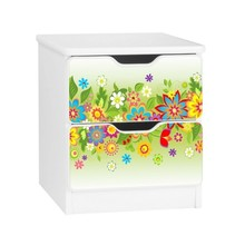 Szafka nocna z szufladami AMILA 20 - kwiaty zielone