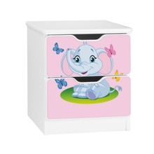 Szafka nocna z szufladami AMILA 39 - słonik/różowy