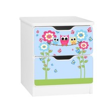 Szafka nocna z szufladami AMILA 44 - rodzina sów/niebieski