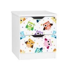 Szafka nocna z szufladami AMILA 46 - sowy/biały