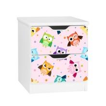 Szafka nocna z szufladami AMILA 53 - sowy/różowy