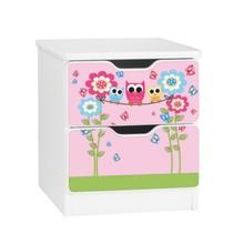 Szafka nocna z szufladami AMILA 54 - rodzina sów/różowy