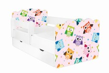 Łóżko dziecięce z szufladą i barierką ALEX 53 - sowy/różowy
