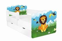 Łóżko dziecięce z szufladą i barierką ALEX 58 - lew