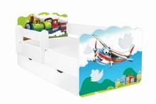 Łóżko dziecięce z szufladą i barierką ALEX 60 - samolot i lokomotywa