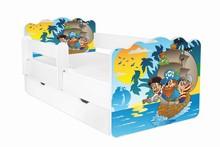 Łóżko dziecięce z szufladą i barierką ALEX 61 - pirat