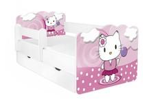 Łóżko dziecięce z szufladą i barierką ALEX 62 - pink kitten