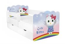 Łóżko dziecięce z szufladą i barierką ALEX 63 - cute kitten