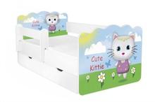 Łóżko dziecięce z szufladą i barierką ALEX 64 - sun and kitten