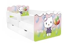 Łóżko dziecięce z szufladą i barierką ALEX 65 - little kitty
