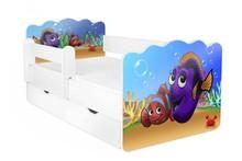 Łóżko dziecięce z szufladą i barierką ALEX 66 - rybki