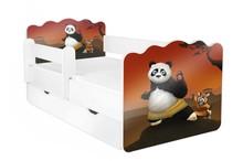 Łóżko dziecięce z szufladą i barierką ALEX 67 - Kung Fu