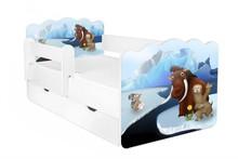Łóżko dziecięce z szufladą i barierką ALEX 68 - Epoka Lodowcowa