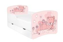 Łóżko dziecięce z szufladą DORA 6 - misiaczek różowy