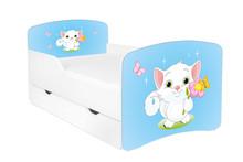 Łóżko dziecięce z szufladą DORA 10 - kotek/niebieski
